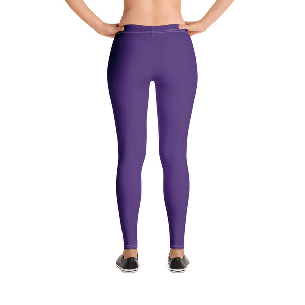 Dark Purple Women's Casual Leggings-Heidikimurart Limited -Heidi Kimura Art LLC Dark Purple Women's Casual Leggings, Solid Color Fashion Fancy Women's Long Dressy Casual Fashion Leggings/ Running Tights - Made in USA/ EU/ MX (US Size: XS-XL)