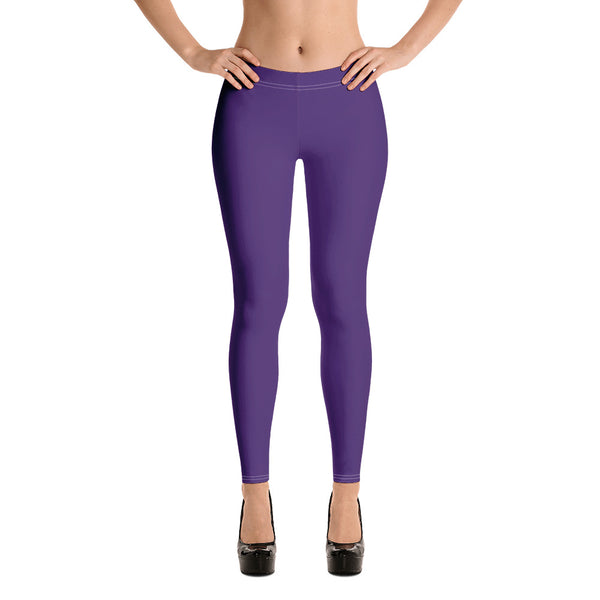 Dark Purple Women's Casual Leggings, Solid Color Fashion Fancy Women's Long Dressy Casual Fashion Leggings/ Running Tights - Made in USA/ EU/ MX (US Size: XS-XL) Dark Purple Women's Casual Leggings-Heidikimurart Limited -Heidi Kimura Art LLC Dark Purple Women's Casual Leggings, Solid Color Fashion Fancy Women's Long Dressy Casual Fashion Leggings/ Running Tights - Made in USA/ EU/ MX (US Size: XS-XL)