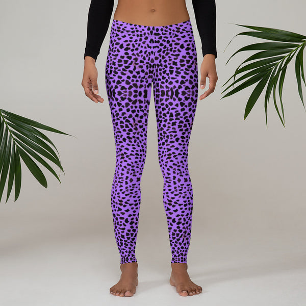 Purple Cheetah Print Leggings-Heidikimurart Limited -XS-Heidi Kimura Art LLC