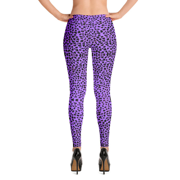 Purple Cheetah Print Leggings-Heidikimurart Limited -Heidi Kimura Art LLC