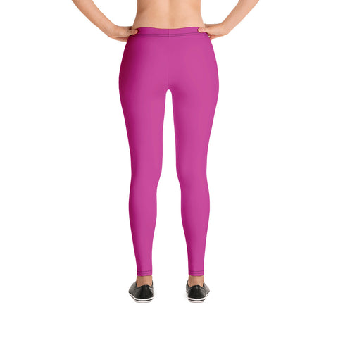 Hot Pink Women's Casual Leggings, Solid Hot Pink Color Fashion Fancy Women's Long Dressy Casual Fashion Leggings/ Running Tights - Made in USA/ EU/ MX (US Size: XS-XL)