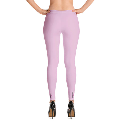 Pink Solid Color Casual Leggings, Premium Luxury Designer Women's Tights-Made in USA/EU - Heidikimurart Limited