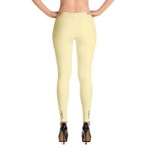Pastel Yellow Women's Casual Leggings, Solid Pale Yellow Color Fashion Fancy Women's Long Dressy Casual Fashion Leggings/ Running Tights - Made in USA/ EU/ MX (US Size: XS-XL)