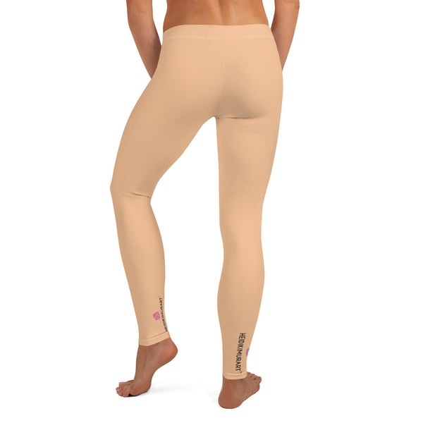 Nude Color Women's Casual Leggings, Solid Nude Pale Color Fashion Fancy Women's Long Dressy Casual Fashion Leggings/ Running Tights - Made in USA/ EU/ MX (US Size: XS-XL)