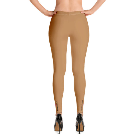 Nude Brown Women's Casual Leggings, Solid Beige Brown Color Fashion Fancy Women's Long Dressy Casual Fashion Leggings/ Running Tights - Made in USA/ EU/ MX (US Size: XS-XL)