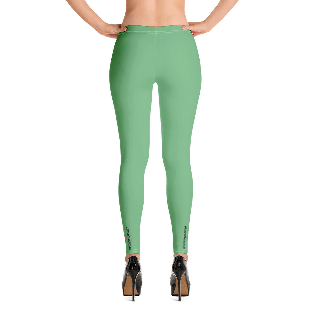 Green Women's Casual Leggings, Best Solid Green Color Fashion Fancy Women's Long Dressy Casual Fashion Leggings/ Running Tights - Made in USA/ EU/ MX (US Size: XS-XL)