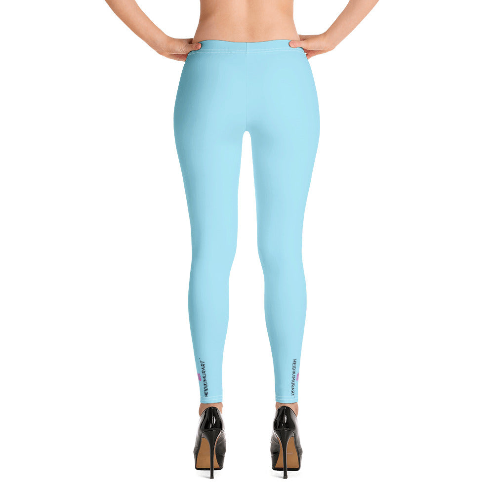 Pastel Blue Women's Yoga Leggings-Heidikimurart Limited -Heidi Kimura Art LLC Pastel Blue Women's Yoga Leggings, Solid Blue Color Long Modern Women's Gym Workout Active Wear Fitted Leggings Sports Long Yoga & Barre Pants - Made in USA/EU/MX (US Size: XS-6XL)