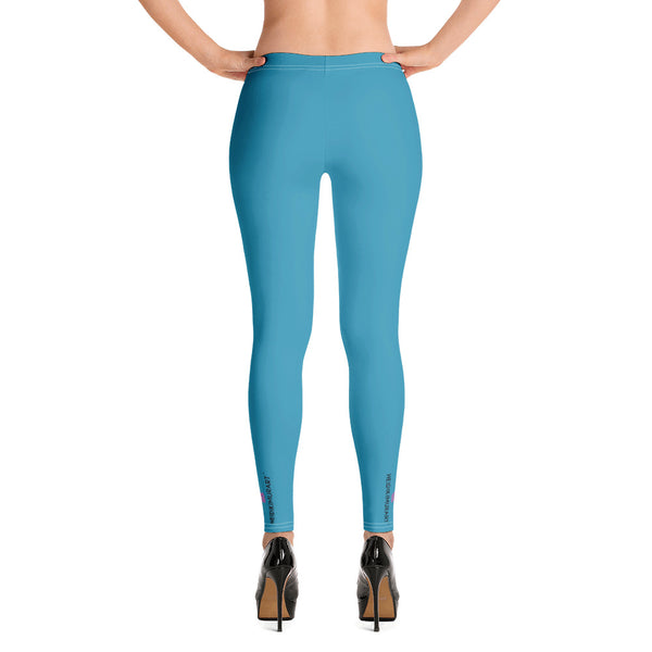 Blue Women's Solid Color Leggings - Heidikimurart Limited