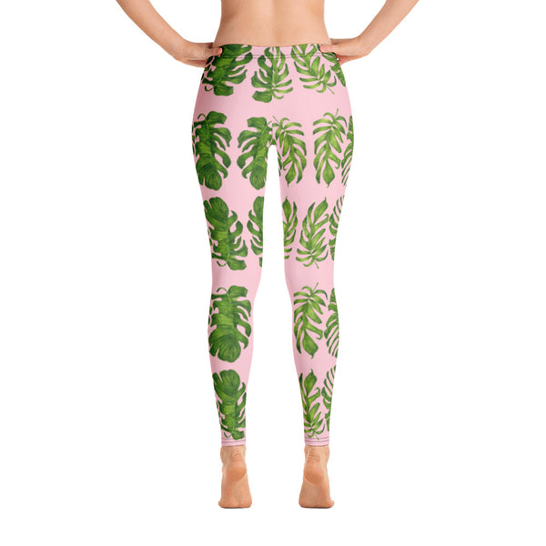 Pink Tropical Leaf Leggings - Heidikimurart Limited
