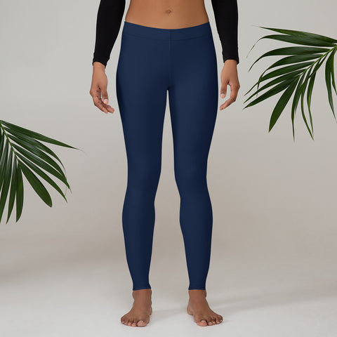 Navy Blue Women's Casual Leggings, Solid Navy Blue Color Fashion Fancy Women's Long Dressy Casual Fashion Leggings/ Running Tights - Made in USA/ EU/ MX (US Size: XS-XL)