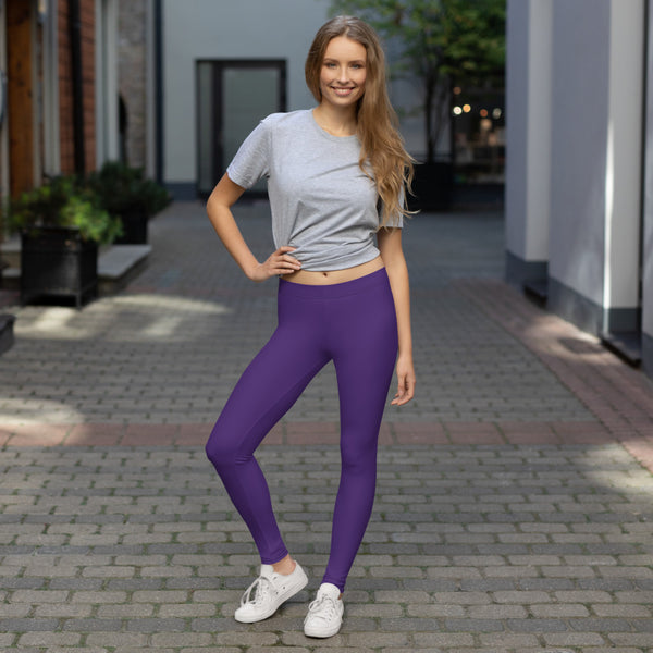 Purple Women's Casual Leggings, Solid Purple Color Fashion Fancy Women's Long Dressy Casual Fashion Leggings/ Running Tights - Made in USA/ EU/ MX (US Size: XS-XL)