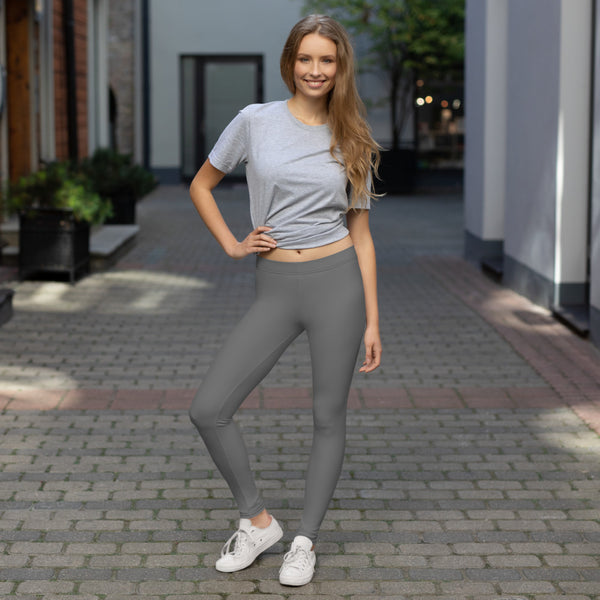 Grey Women's Casual Leggings, Solid Gray Color Fashion Fancy Women's Long Dressy Casual Fashion Leggings/ Running Tights - Made in USA/ EU/ MX (US Size: XS-XL)