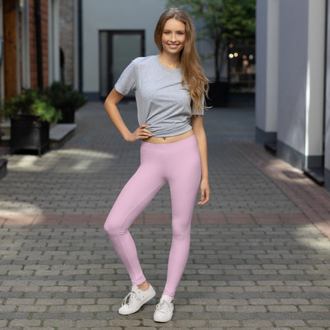 Pastel Pink Women's Casual Leggings, Solid Pastel Pink Color Fashion Fancy Women's Long Dressy Casual Fashion Leggings/ Running Tights - Made in USA/ EU/ MX (US Size: XS-XL)
