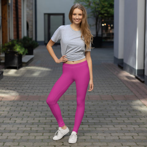 Dark Pink Women's Casual Leggings, Bright Hot Pink Solid Color Fashion Fancy Women's Long Dressy Casual Fashion Leggings/ Running Tights - Made in USA/ EU/ MX (US Size: XS-XL)