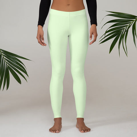 Pastel Green Women's Casual Leggings, Solid Pale Green Color Fashion Fancy Women's Long Dressy Casual Fashion Leggings/ Running Tights - Made in USA/ EU/ MX (US Size: XS-XL)