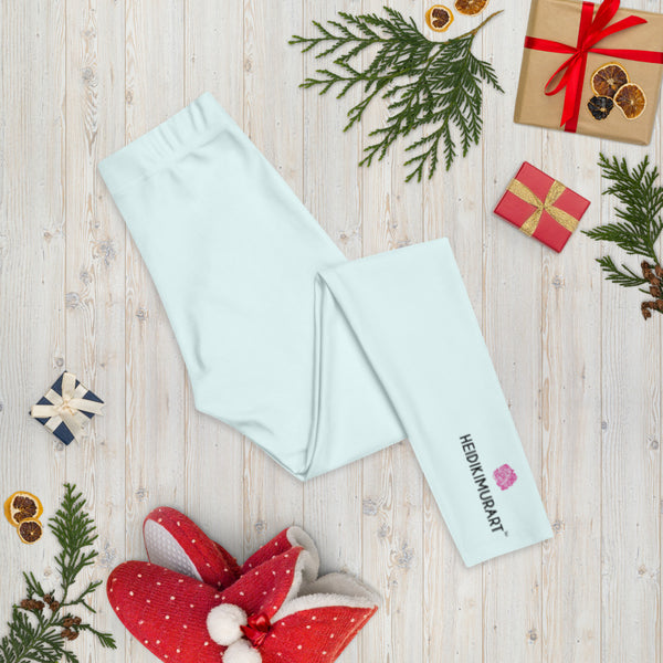 Light Blue Women's Casual Leggings, Solid Pastel Blue Color Fashion Fancy Women's Long Dressy Casual Fashion Leggings/ Running Tights - Made in USA/ EU/ MX (US Size: XS-XL)
