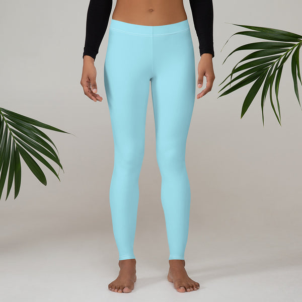 Pastel Blue Women's Casual Leggings, Premium Luxury Designer Women's Tights-Made in USA/EU - Heidikimurart Limited