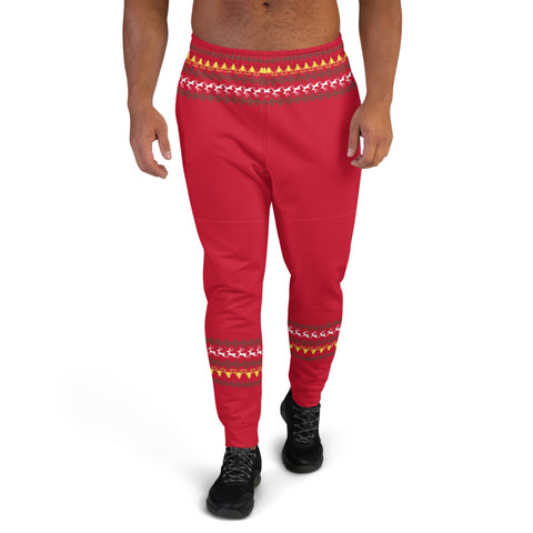 Red Christmas Reindeer Men's Joggers, Festive Xmas Casual Reindeer Sweatpants For Men, Modern Slim-Fit Designer Ultra Soft & Comfortable Men's Joggers, Men's Jogger Pants-Made in EU/MX (US Size: XS-3XL)