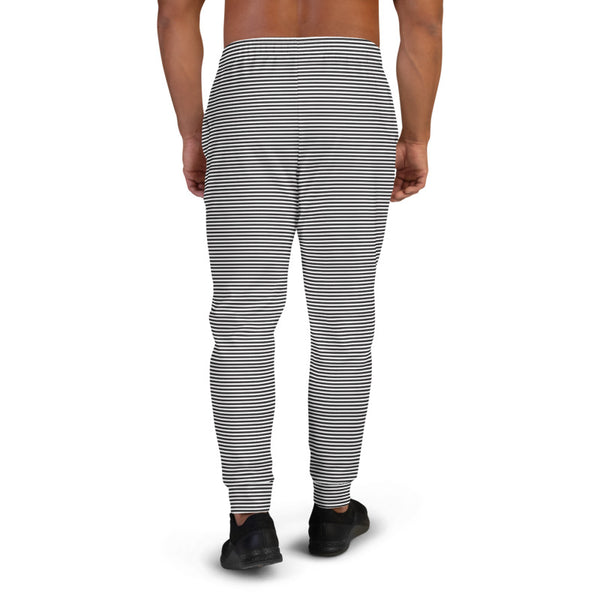 Black White Horizontal Stripes Sweatpants, Best Designer Simple Best Designer Sweatpants For Men, Premium Men's Jogger Pants-Made in EU/MX (US Size: XS-3XL)