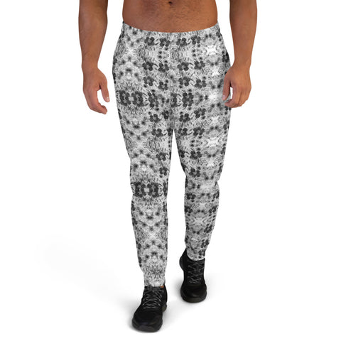 Grey White Floral Men's Joggers, Gray Flower Abstract Print Best Designer Comfy Sweatpants For Men, Premium Men's Jogger Pants-Made in EU/MX (US Size: XS-3XL)