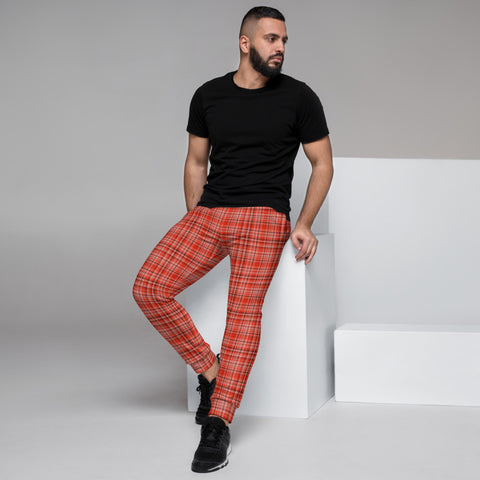 Red Plaid Print Men's Joggers, Classic Scottish Plaid Print Sweatpants For Men, Modern Slim-Fit Designer Ultra Soft & Comfortable Men's Joggers, Men's Jogger Pants-Made in EU/MX (US Size: XS-3XL)