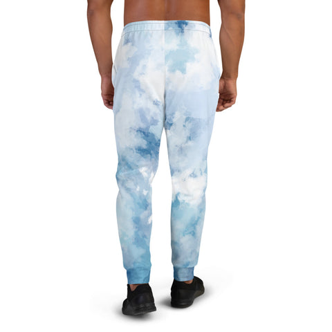 Sky Blue Abstract Men's Joggers, Best Sweatpants For Men, Modern Slim-Fit Designer Ultra Soft & Comfortable Men's Joggers, Men's Jogger Pants-Made in EU/MX (US Size: XS-3XL)