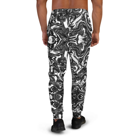 Black Marbled Men's Joggers, Abstract Black Marble Print Abstract Sweatpants For Men, Modern Slim-Fit Designer Ultra Soft & Comfortable Men's Joggers, Men's Jogger Pants-Made in EU/MX (US Size: XS-3XL)