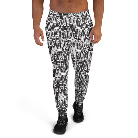 Black White Wavy Men's Joggers, Best Designer Abstract Sweatpants For Men, Modern Slim-Fit Designer Ultra Soft & Comfortable Men's Joggers, Men's Jogger Pants-Made in EU/MX (US Size: XS-3XL)