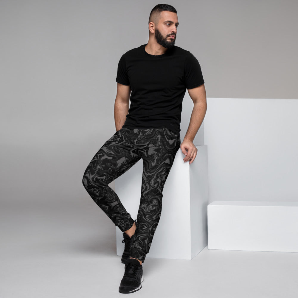 Black Grey Marbled Men's Joggers, Abstract Black Gray Marble Print Abstract Sweatpants For Men, Modern Slim-Fit Designer Ultra Soft & Comfortable Men's Joggers, Men's Jogger Pants-Made in EU/MX (US Size: XS-3XL)