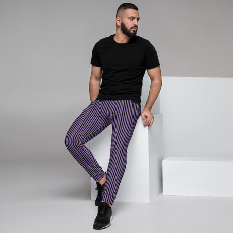 Light Purple Striped Men's Joggers, Best Vertically Stripes Designer Abstract Sweatpants For Men, Modern Slim-Fit Designer Ultra Soft & Comfortable Men's Joggers, Men's Jogger Pants-Made in EU/MX (US Size: XS-3XL)
