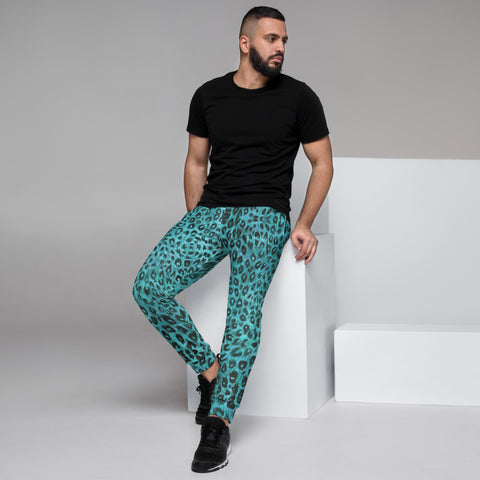 Light Blue Leopard Men's Joggers, Animal Print Sweatpants For Men, Modern Slim-Fit Designer Ultra Soft & Comfortable Men's Joggers, Men's Jogger Pants-Made in EU/MX (US Size: XS-3XL)