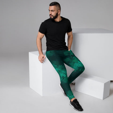 Green Abstract Men's Joggers, Dark Green Slim Fit Designer Abstract Sweatpants For Men, Modern Slim-Fit Designer Ultra Soft & Comfortable Men's Joggers, Men's Jogger Pants-Made in EU/MX (US Size: XS-3XL)