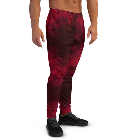 Red Abstract Men's Joggers, Dark Red Premium Best Sweatpants For Men, Modern Slim-Fit Designer Ultra Soft & Comfortable Men's Joggers, Men's Jogger Pants-Made in EU/MX (US Size: XS-3XL)