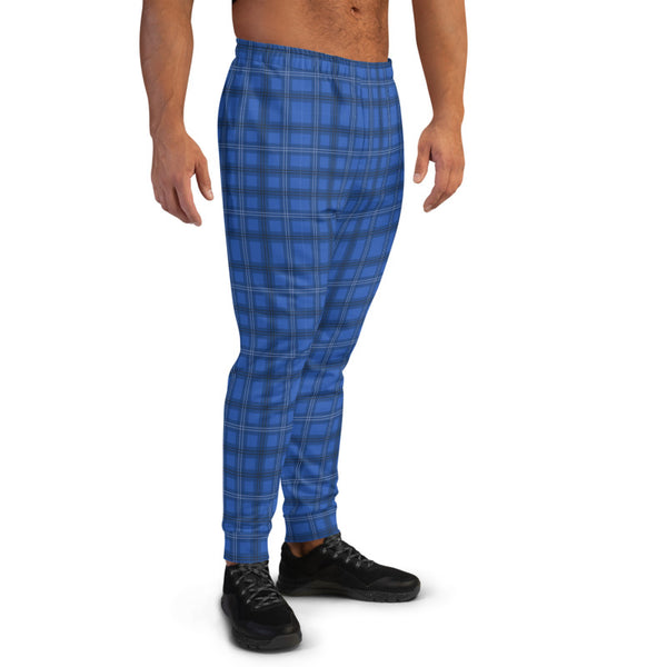 Royal Blue Plaid Men's Joggers, Tartan Print Sweatpants For Men-Made in EU/MX