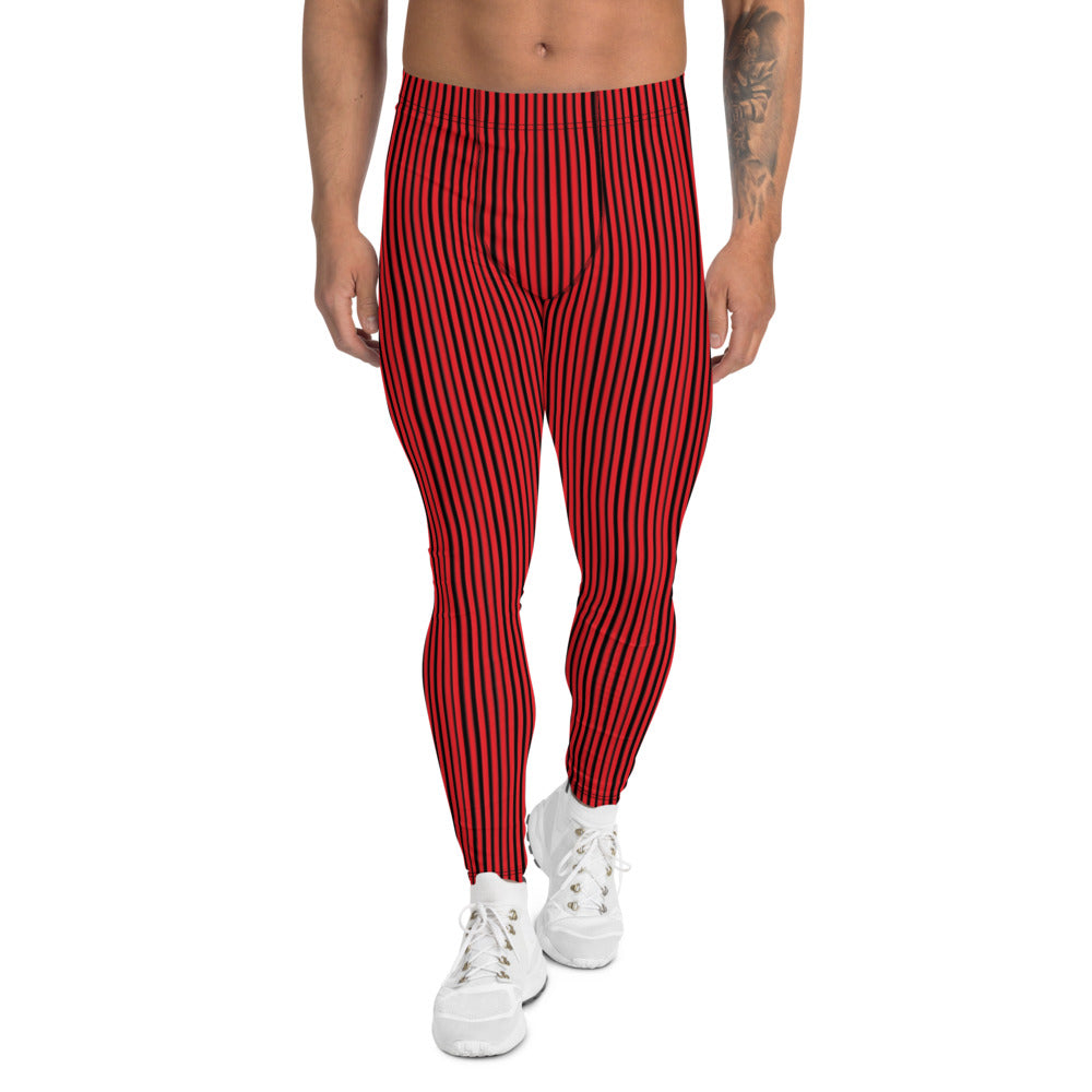 Red Black Striped Men's Leggings-Heidikimurart Limited -XS-Heidi Kimura Art LLC Red Black Striped Men's Leggings, Modern Stripes Minimalist Print Sexy Meggings Men's Workout Gym Tights Leggings, Men's Compression Tights Pants - Made in USA/ EU/ MX (US Size: XS-3XL)