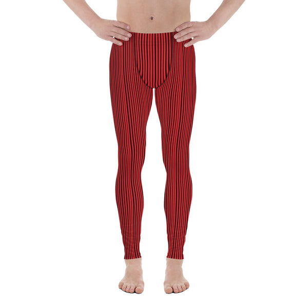 Red Black Striped Men's Leggings-Heidikimurart Limited -Heidi Kimura Art LLC Red Black Striped Men's Leggings, Modern Stripes Minimalist Print Sexy Meggings Men's Workout Gym Tights Leggings, Men's Compression Tights Pants - Made in USA/ EU/ MX (US Size: XS-3XL)
