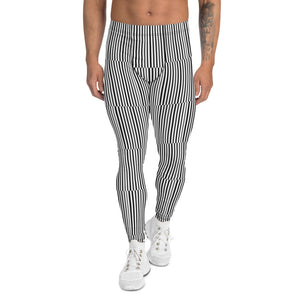 Fun Stripes Men's Leggings-Heidikimurart Limited -XS-Heidi Kimura Art LLC Fun Stripes Men's Leggings, Black White Vertical Striped Print Best Chic Sexy Meggings Men's Workout Gym Tights Leggings, Men's Compression Tight Pants - Made in USA/ EU/ MX (US Size: XS-3XL)