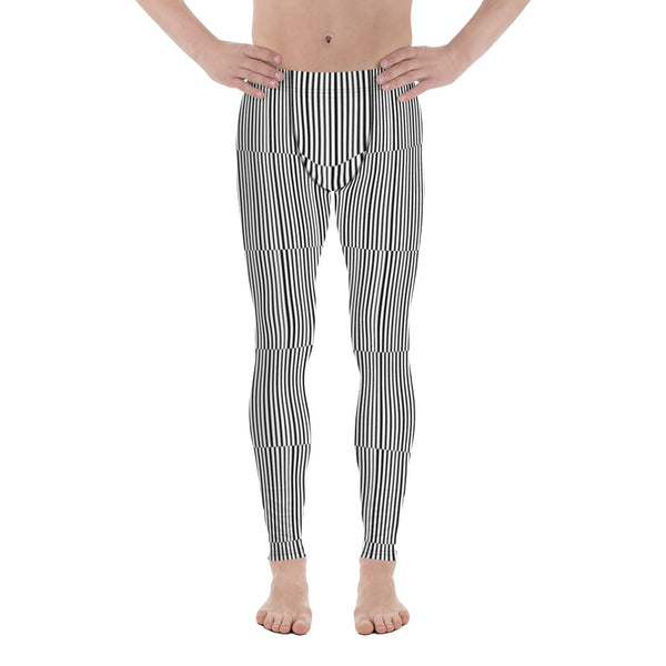 Fun Stripes Men's Leggings-Heidikimurart Limited -Heidi Kimura Art LLC Fun Stripes Men's Leggings, Black White Vertical Striped Print Best Chic Sexy Meggings Men's Workout Gym Tights Leggings, Men's Compression Tight Pants - Made in USA/ EU/ MX (US Size: XS-3XL)