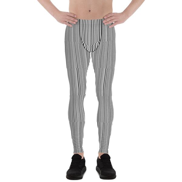 Fun Stripes Men's Leggings-Heidikimurart Limited -Heidi Kimura Art LLCFun Stripes Men's Leggings, Black White Vertical Striped Print Best Chic Sexy Meggings Men's Workout Gym Tights Leggings, Men's Compression Tight Pants - Made in USA/ EU/ MX (US Size: XS-3XL)