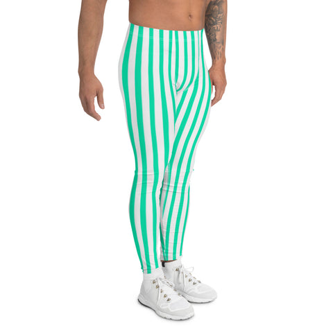 Turquoise Blue Stripes Men's Leggings-Heidikimurart Limited -Heidi Kimura Art LLC Turquoise Blue Stripes Men's Leggings, Modern Vertically Stripes Sexy Meggings Men's Workout Gym Tights Leggings, Men's Compression Tights Pants - Made in USA/ EU/ MX (US Size: XS-3XL)