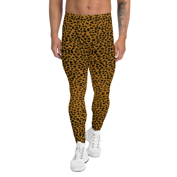 Brown Cheetah Print Men's Leggings-Heidikimurart Limited -XS-Heidi Kimura Art LLC Brown Cheetah Men's Leggings, Leopard Animal Print Designer Men's Leggings Tights Pants - Made in USA/MX/EU (US Size: XS-3XL) Sexy Meggings Men's Workout Gym Tights Leggings, Compression Tights