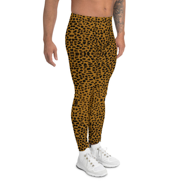 Brown Cheetah Print Men's Leggings-Heidikimurart Limited -Heidi Kimura Art LLC Brown Cheetah Men's Leggings, Leopard Animal Print Designer Men's Leggings Tights Pants - Made in USA/MX/EU (US Size: XS-3XL) Sexy Meggings Men's Workout Gym Tights Leggings, Compression Tights
