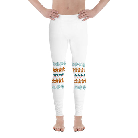 Christmas Gingerbread Men's Leggings, Festive Holiday Meggings Compression Tights Sexy Meggings Men's Workout Gym Tights Leggings, Men's Compression Tights Pants - Made in USA/ EU/ MX (US Size: XS-3XL)