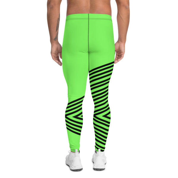 Green Striped Men's Leggings, Vertical Stripes Circus Designer Print Sexy Meggings Men's Workout Gym Tights Leggings, Men's Compression Tights Pants - Made in USA/ EU/ MX (US Size: XS-3XL)