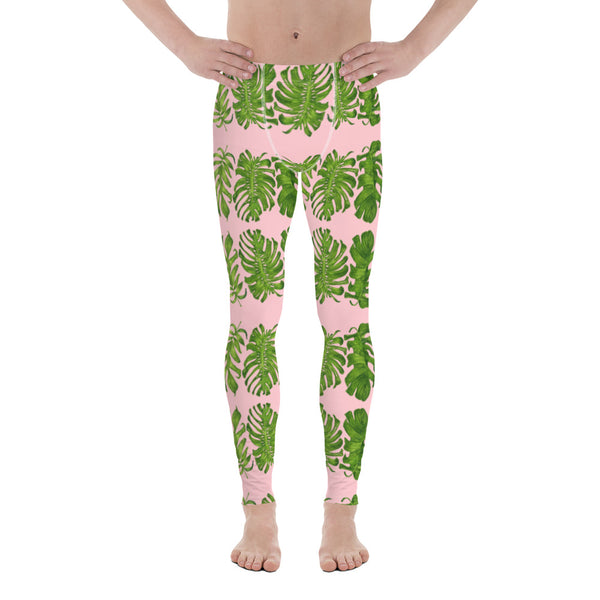 Pink Tropical Leaf Men's Leggings - Heidikimurart Limited  Pink Tropical Leaf Men's Leggings, Hawaiian Style Leaves Designer Print Sexy Meggings Men's Workout Gym Tights Leggings, Men's Compression Tights Pants - Made in USA/ EU/ MX (US Size: XS-3XL)