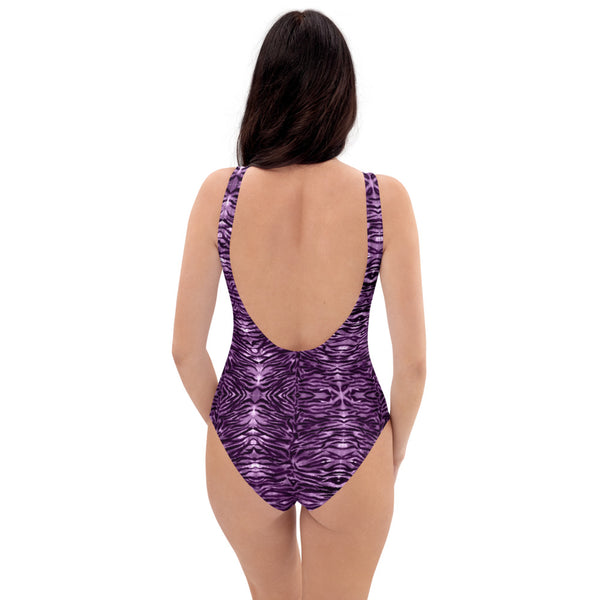 Purple Tiger One-Piece Swimsuit, Animal Print Best Luxury 1-Piece Unpadded Swimwear Bathing Suits, Beach Wear - Made in USA/EU/MX (US Size: XS-3XL) Plus Size Available