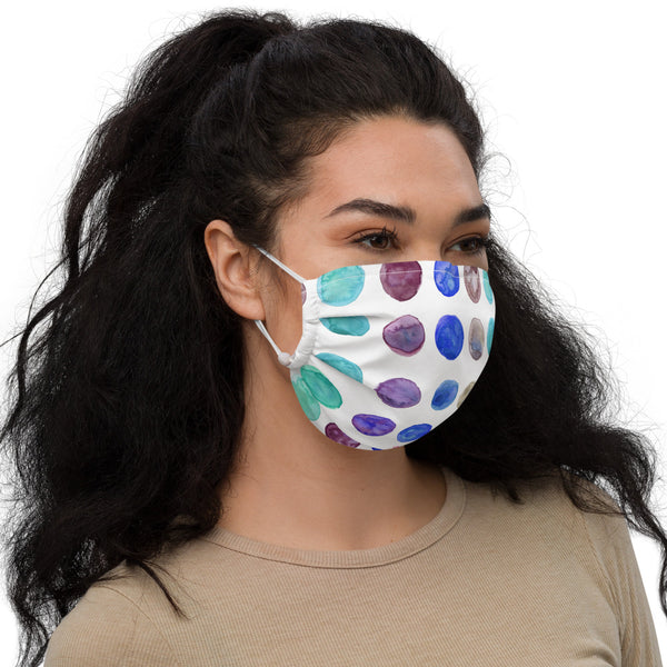 Blue Polka Dots Face Mask - Heidikimurart Limited