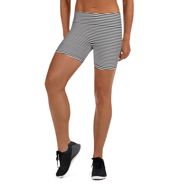 Black White Striped Women's Shorts