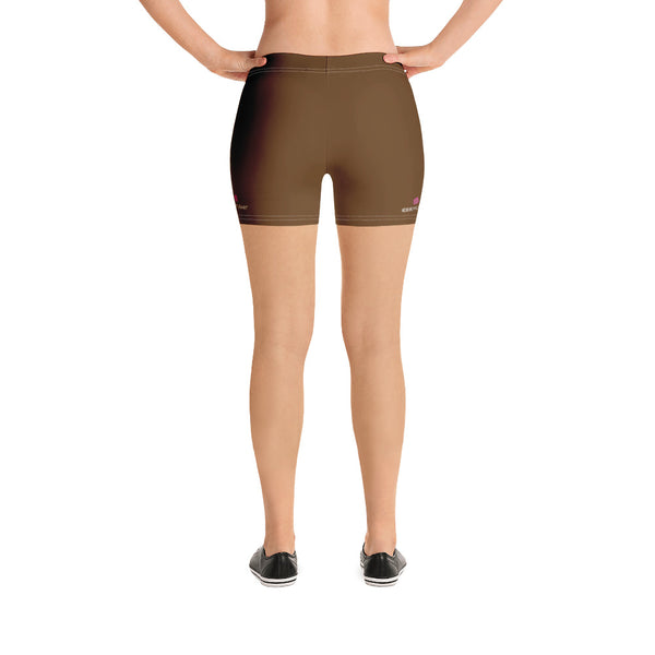 Brown Color Women's Gym Shorts, Modern Essentials Designer Women's Elastic Stretchy Shorts Short Tights -Made in USA/EU/MX (US Size: XS-3XL) Plus Size Available, Tight Pants, Pants and Tights, Womens Shorts, Short Yoga Pants
