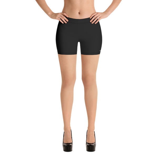 Black Solid Color Shorts, Premium Modern Basic Essential Black Designer Shorts For Women, Solid Color Black Designer Women's Elastic Stretchy Shorts Short Tights -Made in USA/EU/MX (US Size: XS-3XL) Plus Size Available, Tight Pants, Pants and Tights, Womens Shorts, Short Yoga Pants